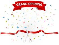 Fundo da grande inauguração com confetes Imagens de Stock Royalty Free