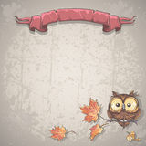Fundo da ilustração com coruja e folhas de outono Imagens de Stock Royalty Free