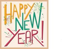 Fundo da ilustração da tipografia do ano novo feliz Imagens de Stock