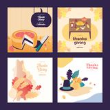 Fundo da ilustração do dia da ação de graças do alimento e do ornamento ilustração royalty free
