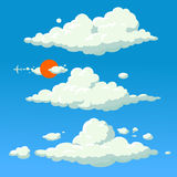 Fundo da ilustração do estilo dos desenhos animados da nuvem Imagem de Stock Royalty Free