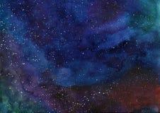 Fundo da imagem do espaço da nebulosa da galáxia da aquarela com estrelas ilustração stock