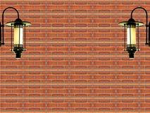 Fundo da lâmpada do tijolo vermelho e do vintage Fotos de Stock