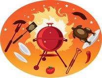 Fundo da laranja do BBQ Imagens de Stock Royalty Free