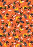 Fundo da laranja do fantasma do teste padrão de Dia das Bruxas fotografia de stock royalty free
