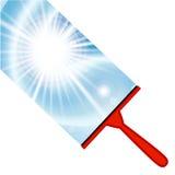 Fundo da limpeza de janela com rodo de borracha Fotos de Stock Royalty Free