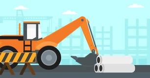 Fundo da máquina escavadora no canteiro de obras Imagem de Stock Royalty Free