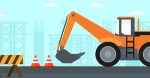 Fundo da máquina escavadora no canteiro de obras Imagem de Stock