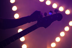 Fundo da música ao vivo, guitarrista imagens de stock royalty free