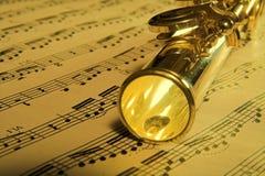 Fundo da música da flauta do ouro Foto de Stock Royalty Free