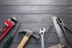 Fundo da madeira da ferramenta das ferramentas Imagens de Stock Royalty Free