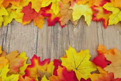 Fundo da madeira de Autumn Leaves e do tempo Foto de Stock Royalty Free