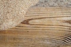 Fundo da madeira e da areia Fotos de Stock Royalty Free