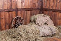 Fundo da madeira e do feno Foto de Stock Royalty Free