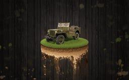 Fundo da madeira da parte dianteira de Jeep Willys Imagens de Stock Royalty Free