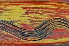 Fundo da madeira vermelho-amarela velha com teste padrão imagens de stock royalty free