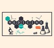 Fundo da medicina, inscrição da medicina ilustração do vetor
