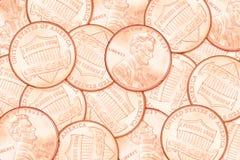 Fundo da moeda de um centavo do centavo Imagem de Stock