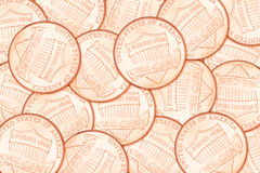 Fundo da moeda de um centavo do centavo Fotografia de Stock