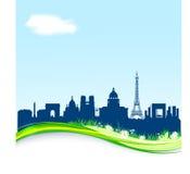 Fundo da mola com skyline de Paris. Fotografia de Stock Royalty Free