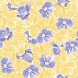 Fundo da mola Flores azuis e amarelas Vector o teste padrão sem emenda Contexto floral pintura de matéria têxtil Fundo repetitivo ilustração royalty free