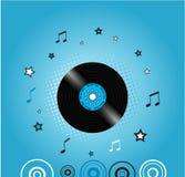 Fundo da música com placa do vinil Imagens de Stock Royalty Free
