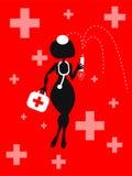 Fundo da mulher dos desenhos animados do vetor com ícones médicos Imagem de Stock Royalty Free