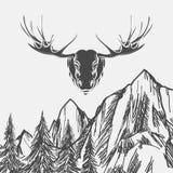 Fundo da natureza com floresta e alces ilustração stock