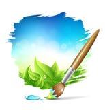 Fundo da natureza da escova de pintura ilustração royalty free