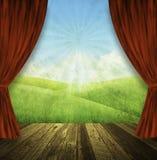 Fundo da natureza do estágio do teatro ilustração royalty free