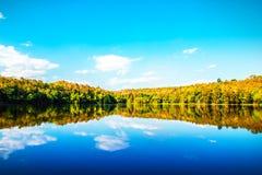 Fundo da natureza do lago bonito e do céu azul Fotos de Stock Royalty Free