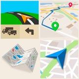 Fundo da navegação dos Gps Mapa da cidade Ilustração do vetor Fotos de Stock