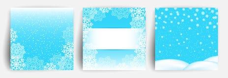Fundo da neve Ajuste do molde do projeto de cartão do Natal para o inseto, bandeira, convite, felicitações Contextos do Natal ilustração do vetor