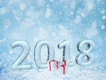 fundo da neve do ano 2018 novo feliz Feliz Natal, 3d Imagens de Stock