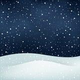 Fundo da noite da queda de neve Fotografia de Stock Royalty Free