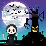 Fundo da noite de Dia das Bruxas com Ceifador e árvore assustador na parte dianteira a Lua cheia Fotografia de Stock