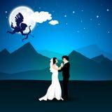 Fundo da noite do amor do dia de Valentim com o Cupido que toma o alvo no ne Imagem de Stock