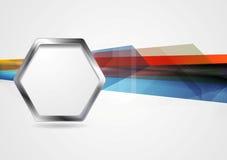 fundo da Olá!-tecnologia com forma do hexágono do metal Imagens de Stock Royalty Free