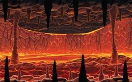 Fundo da paisagem - caverna quente infernal com lava ilustração royalty free
