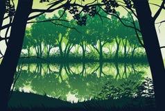 Fundo da paisagem com rio e a floresta profunda Foto de Stock