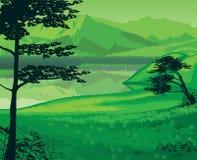 Fundo da paisagem com rio e montanhas Fotos de Stock