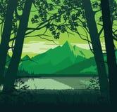 Fundo da paisagem com rio e montanhas ilustração do vetor