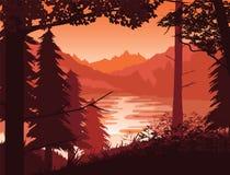 Fundo da paisagem com rio, floresta e montanhas Imagem de Stock Royalty Free