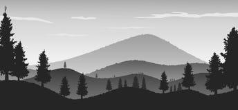 Fundo da paisagem da natureza com as silhuetas das montanhas e das árvores Fotografia de Stock Royalty Free