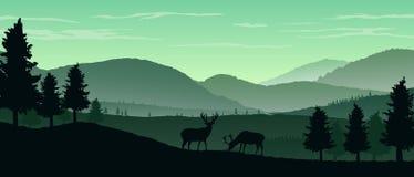 Fundo da paisagem da natureza com as silhuetas das montanhas e das árvores Fotos de Stock Royalty Free