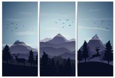 Fundo da paisagem da natureza com as silhuetas das montanhas e das árvores Imagem de Stock Royalty Free