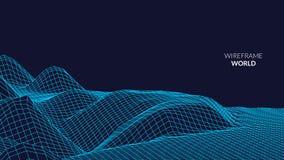 Fundo da paisagem de Wireframe Paisagem futurista com linha grade Baixo mapeamento poli de 3D Wireframe Cyber da rede Fotografia de Stock Royalty Free