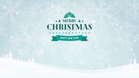 Fundo da paisagem do inverno com silhuetas e árvores do floco de neve Crachá tipográfico do vintage do Natal e do ano novo Foto de Stock