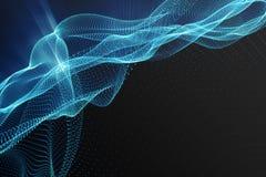 Fundo da paisagem Grade da paisagem do Cyberspace tecnologia 3d Paisagem abstrata no fundo preto com raios claros Imagens de Stock
