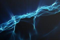 Fundo da paisagem Grade da paisagem do Cyberspace tecnologia 3d Paisagem abstrata no fundo preto com raios claros Imagem de Stock Royalty Free